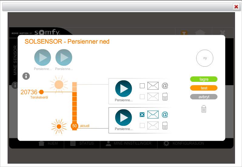 Solsensor-automatikk oppsettet i Tahoma